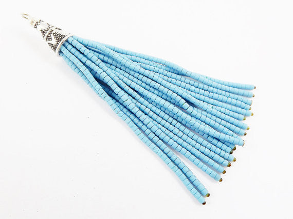 NEW Alaskan Blue Afghan Tibetan Heishi Tube Beaded Tassel - Handmade - Tibetan Style Shiny Silver Plated Cap - 78mm 1PC