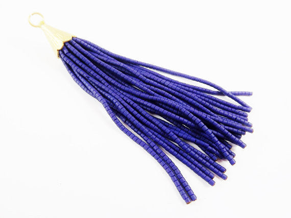 Navy Blue Afghan Tibetan Heishi Tube Beaded Tassel - Handmade - Textured 22k Matte Gold Plated Cap - 92mm = 3.62inches -1PC