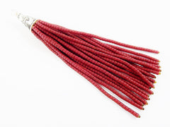 NEW Rio Red Afghan Tibetan Heishi Tube Beaded Tassel - Handmade - Tibetan Style Shiny Silver Plated Cap -89mm 1PC