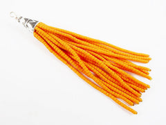 NEW Vibrant Orange Afghan Tibetan Heishi Tube Beaded Tassel - Handmade - Tibetan Style Shiny Silver Plated Cap - 92mm 1PC