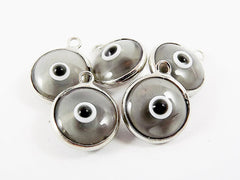 5 Translucent Gray Evil Eye Nazar Artisan Glass Bead Charms - Silver Plated Brass Bezel