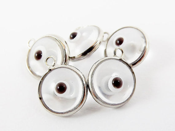 5 Translucent Clear Evil Eye Nazar Artisan Glass Bead Charms - Silver Plated Brass Bezel