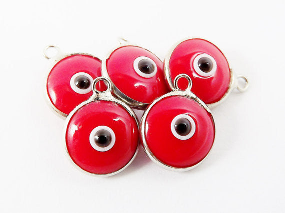 5 Opaque Poppy Red Evil Eye Nazar Artisan Glass Bead Charms - Silver Plated Brass Bezel