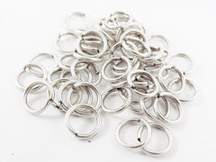 50 pcs - 9mm Antique Matte Silver Plated Brass jump rings