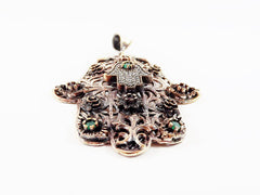 Large Floral Hamsa Hand of Fatima Pendant Red Green Crystal Accents - Antique Bronze Plated - 1PC - No:1