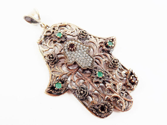 Large Floral Hamsa Hand of Fatima Pendant Red Green Crystal Accents - Antique Bronze Plated - 1PC - No:2