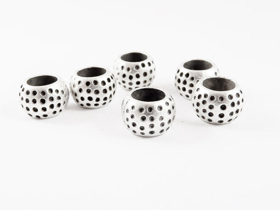 6 Dotted Chunky Barrel Saucer Bead Spacers - Matte Silver Plated