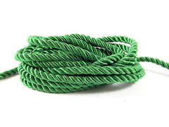 3.5mm Emerald Green Twisted Rayon Satin Rope Silk Braid Cord - 3 Ply Twist - 1 meters - 1.09 Yards - No:17