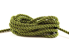 3.5mm Spinach Green Twisted Rayon Satin Rope Silk Braid Cord - 3 Ply Twist - 1 meters - 1.09 Yards - No:17