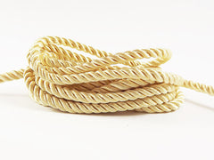 3.5mm Soft Lemon Yellow Twisted Rayon Satin Rope Silk Braid Cord - 3 Ply Twist - 1 meters - 1.09 Yards - No:17