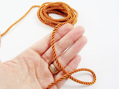 3.5mm Burnt Orange Twisted Rayon Satin Rope Silk Braid Cord - 3 Ply Twist - 1 meters - 1.09 Yards - No:17
