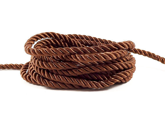 3.5mm Brown Twisted Rayon Satin Rope Silk Braid Cord - 3 Ply Twist - 1 meters - 1.09 Yards - No:17