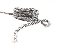 3.5mm Gray Twisted Rayon Satin Rope Silk Braid Cord - 3 Ply Twist - 1 meters - 1.09 Yards - No:17