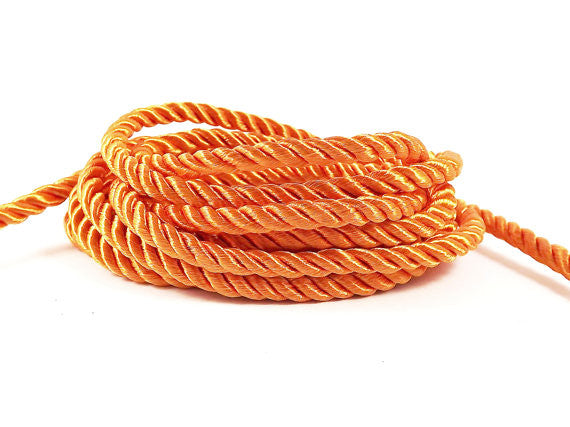 3.5mm Sun Orange Twisted Rayon Satin Rope Silk Braid Cord - 3 Ply Twist - 1 meters - 1.09 Yards - No:17