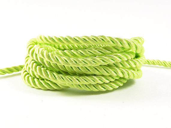 3.5mm Sunny Lime Twisted Rayon Satin Rope Silk Braid Cord - 3 Ply Twist - 1 meters - 1.09 Yards - No:17