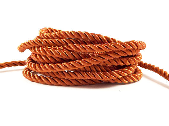 3.5mm Orange Rust Twisted Rayon Satin Rope Silk Braid Cord - 3 Ply Twist - 1 meters - 1.09 Yards - No:17