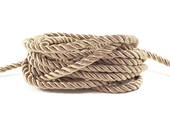 3.5mm Deep Beige Twisted Rayon Satin Rope Silk Braid Cord - 3 Ply Twist - 1 meters - 1.09 Yards - No:17