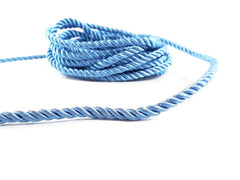 3.5mm Alaskan Blue Twisted Rayon Satin Rope Silk Braid Cord - 3 Ply Twist - 1 meters - 1.09 Yards - No:17