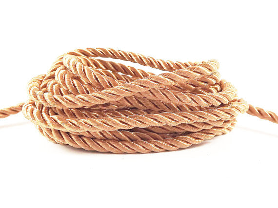 3.5mm Peach Twisted Rayon Satin Rope Silk Braid Cord - 3 Ply Twist - 1 meters - 1.09 Yards - No:17