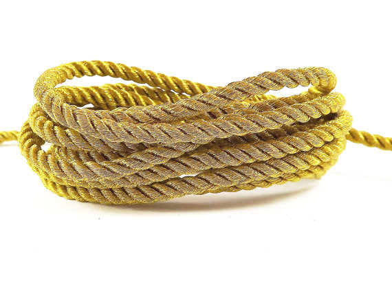 3.5mm Metallic Antique Gold Twisted Rayon Satin Rope Silk Braid Cord - 3 Ply Twist - 1 meters - 1.09 Yards - No:17