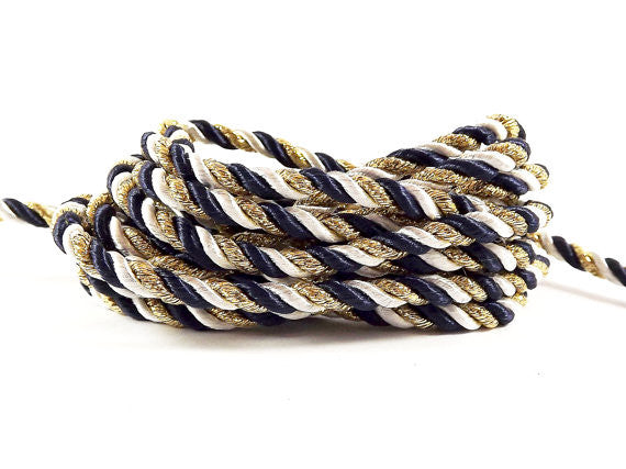 3.5mm Navy Rice White Metallic Gold Twisted Rayon Satin Rope Silk Braid Cord - 3 Ply Twist - 1 meters - 1.09 Yards - No:17