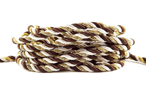 3.5mm Brown White Metallic Gold Twisted Rayon Satin Rope Silk Braid Cord - 3 Ply Twist - 1 meters - 1.09 Yards - No:17