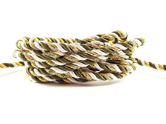 3.5mm Army Green White Metallic Gold Twisted Rayon Satin Rope Silk Braid Cord - 3 Ply Twist - 1 meters - 1.09 Yards - No:17