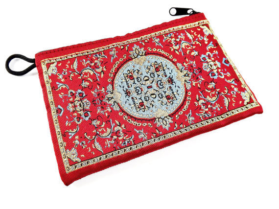 Rich Red Blue Metallic Gold Turkish Carpet Bag Purse - Alternative Jewelry Gift Packaging - No: 38 - 1 PC