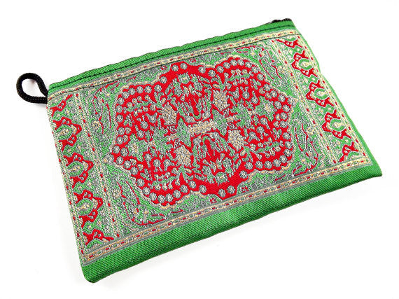 Emerald Green Red Metallic Gold Turkish Carpet Bag Purse - Alternative Jewelry Gift Packaging - No: 32 - 1 PC