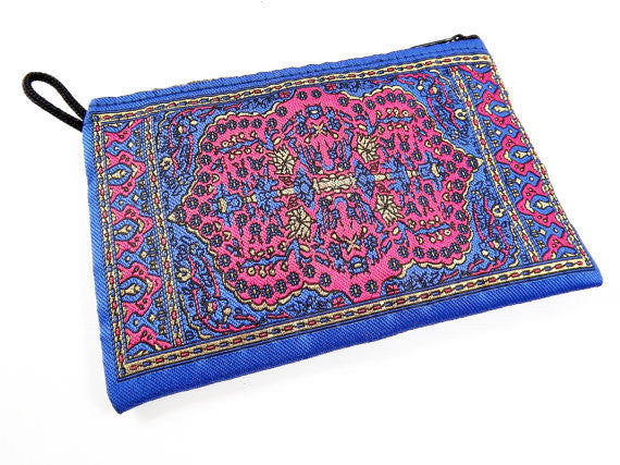 Royal Blue Hot Pink Metallic Gold Turkish Carpet Bag Purse - Alternative Jewelry Gift Packaging - No: 33 - 1 PC