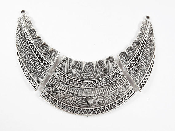 Large Ethnic Detailed Necklace Focal Collar Pendant Connector - Matte Antique Silver Plated - 1PC