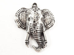 Exotic Elephant Head Pendant - Matte Antique Silver Plated - 1PC