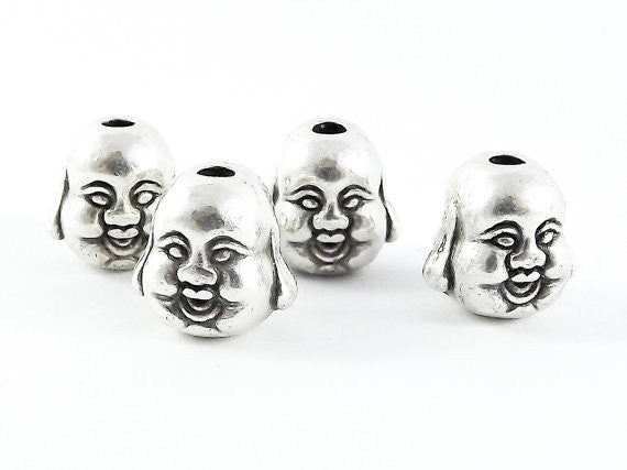 4 Happy Buddha Head Bead Spacers - Matte Silver Plated