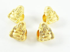 4 Happy Buddha Bead Spacers - 4mm Large Hole - 22k Matte Gold Plated