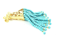 Large Turquoise Stone Turkish Caftan Tassel Pendant - 22k Matte Gold Plated - 1PC