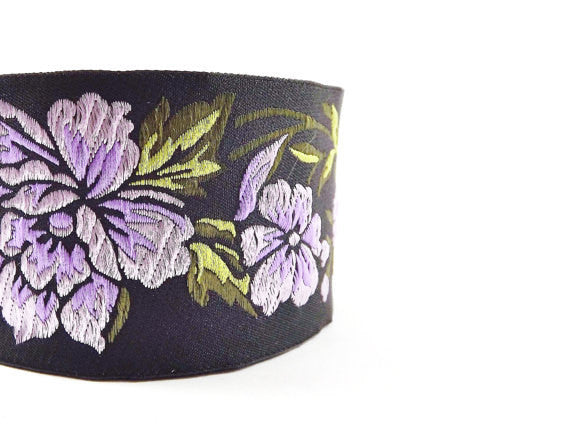 Lilac Peony Flower Woven Embroidered Jacquard Trim Ribbon - 1 Meter or 3.3 Feet or 1.09 Yards