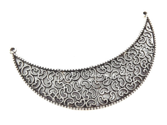 Large Crescent Filigree Necklace Focal Collar Pendant Connector - Matte Antique Silver Plated - 1PC