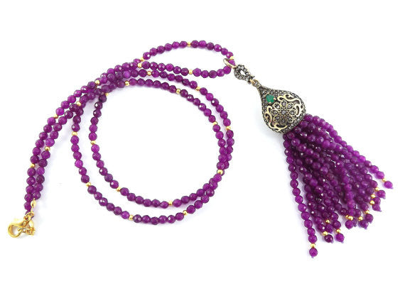 Ethnic Turkish Gemstone Tassel Necklace - Violet Purple Facet Jade