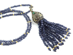 Ethnic Turkish Gemstone Tassel Necklace - Smoky Denim Blue Facet Jade