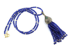 Ethnic Turkish Gemstone Tassel Necklace - Royal Blue Facet Jade