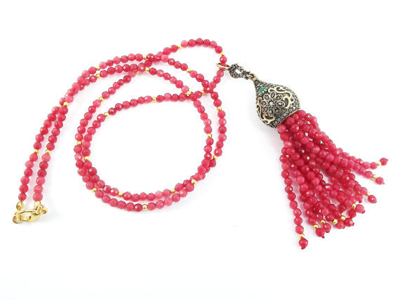 Ethnic Turkish Gemstone Tassel Necklace - Strawberry Red Facet Jade