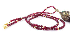 Ethnic Turkish Gemstone Tassel Necklace - Garnet Red Facet Jade