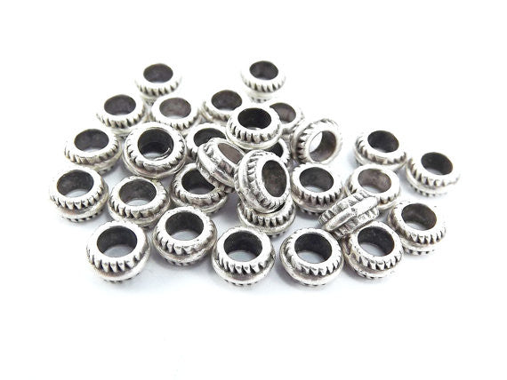 30 7mm x 3mm Round Ribbed Matte Antique Silver Plated Beads Spacers