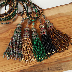 Ethnic Turkish Gemstone Tassel Necklace -  Deep Green Flower Jade Stone
