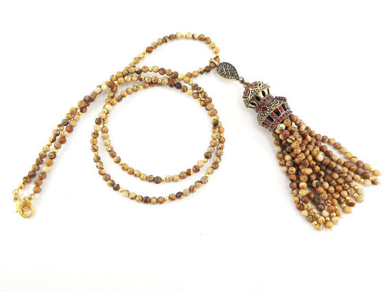 Ethnic Turkish Gemstone Tassel Necklace - Beige Jasper Stone