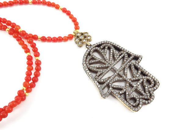 Sparkly Hamsa Hand of Fatima Rhinestone and Gemstone Necklace -  Orange Jade Stone