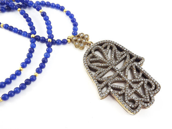 Sparkly Hamsa Hand of Fatima Rhinestone and Gemstone Necklace -  Royal Blue Jade Stone