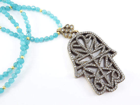 Sparkly Hamsa Hand of Fatima Rhinestone and Gemstone Necklace -  Aqua Blue Jade Stone