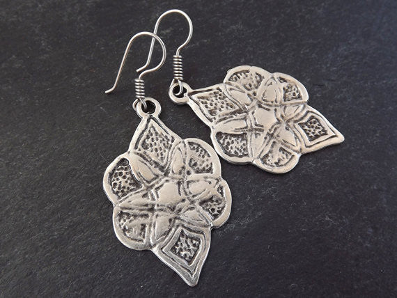 Ethnic Etched Marquise Shape Tribal Silver Earrings - Authentic Turkish Style