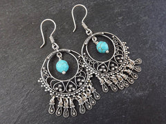 Filigree Chandelier Statement Tribal Ethnic Silver Earrings - Facet Turquiose Cut Drop Charms - Authentic Turkish Style